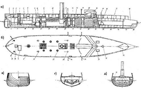 Собственно, схема нам особенно не нужна.  На ней интересна пушка - единственное вооружение кораблика.